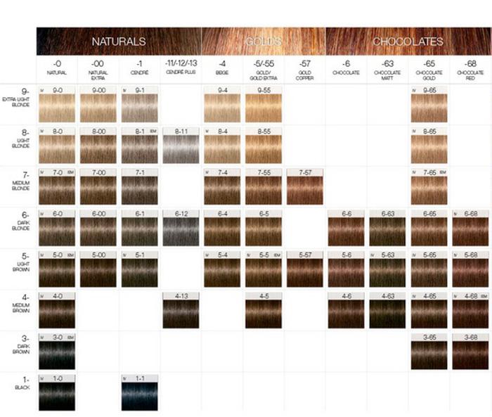 Gama de colores en cabello