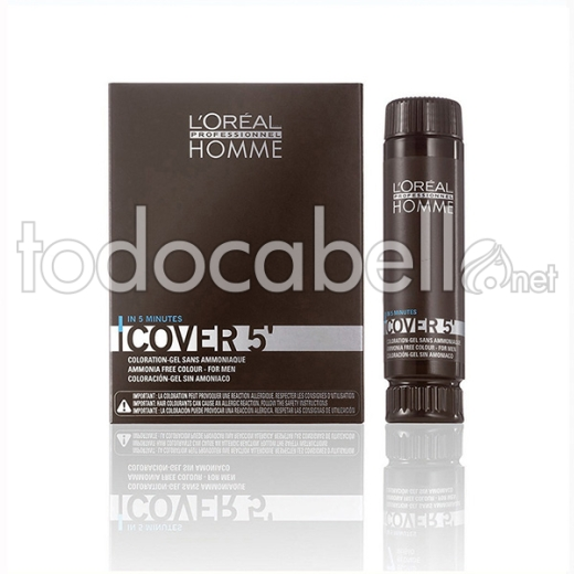 Loreal Homme Cover 5 Nº3 3x50ml Castaño Oscuro