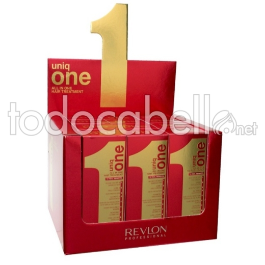 Revlon Expositor 12 uds Uniq One 10 En 1 Professional Hair Treatment  150ml + 2 Uniq One 40ml de REGALO