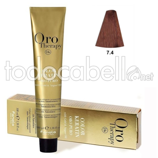 "Fanola Tinte Oro Therapy ""Sin Amoniaco"" 7.4 Rubio cobre 100ml"
