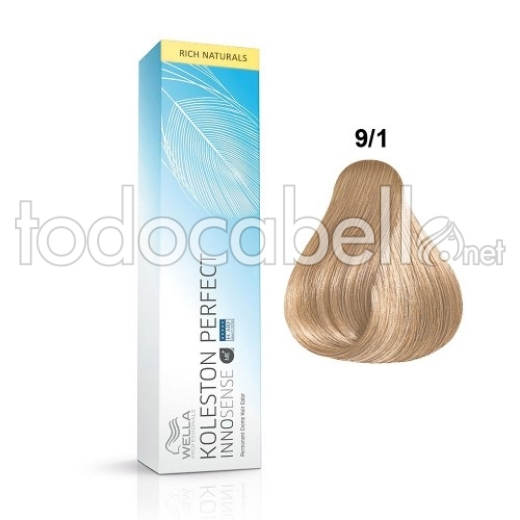 Wella INNOSENSE Tinte Koleston Perfect 9/1 Rubio Muy Claro Ceniza 60ml 1