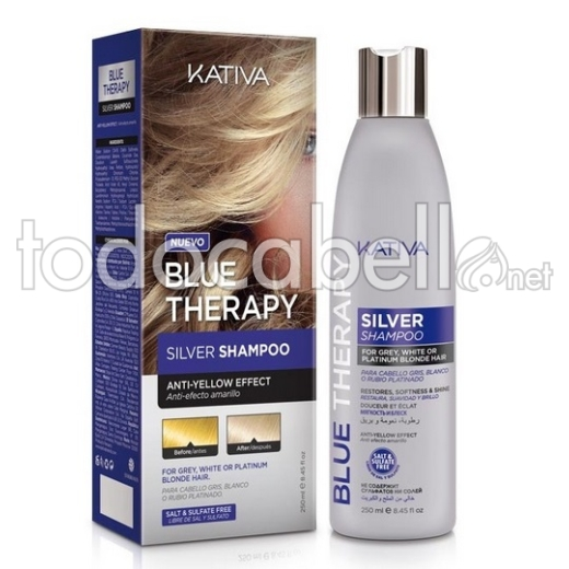 Kativa Blue Therapy Silver Shampoo Sin sal 250ml. Efecto anti-amarillo