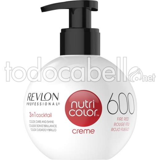 Revlon Nutri Color Creme 600 Rojo Fuego 270ml.