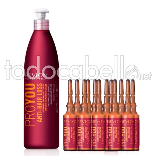 Revlon Proyou Pack Anticaída Champú Anti-Hair Loss 350ml + Ampollas 12 x 6ml