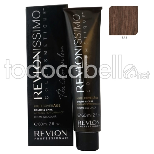Tinte Revlonissimo Colorsmetique High Coverage 6.12 Rubio Oscuro Escarchado 60ml