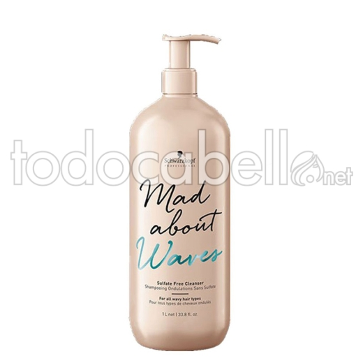 Schwarzkopf Mad About Waves Champú Sin sulfatos 1000 ml