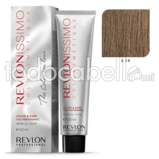 Tinte Revlonissimo Colorsmetique 6.14 Rubio Oscuro Marrón Escarchado 60ml.