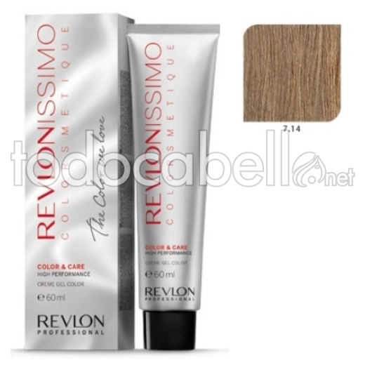 Tinte Revlonissimo Colorsmetique 7.14 Rubio Marrón Escarchado 60ml.