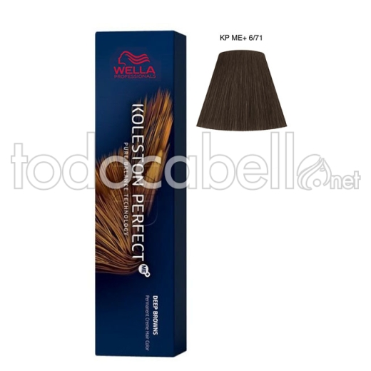 Wella Koleston Perfect ME+ Deep Browns 6/71 Rubio Oscuro Marrón Ceniza 60ml + Welloxon Crema Activadora 60ml