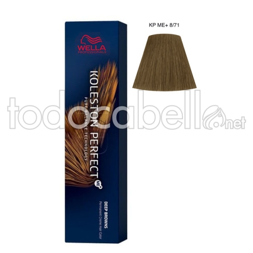 Wella Koleston Perfect ME+ Deep Browns 8/71 Rubio Claro Marrón Ceniza 60ml + Welloxon Crema Activadora 60ml