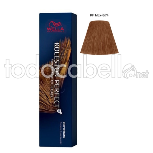 Wella Koleston Perfect ME+ Deep Browns 8/74  Rubio Claro Marrón Caoba 60ml + Welloxon Crema Activadora 60ml