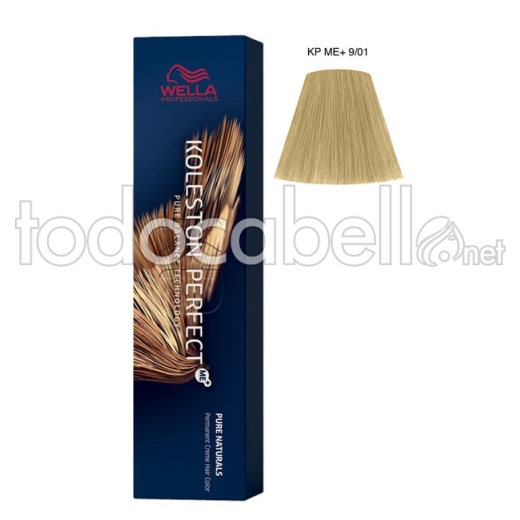 Wella Koleston Perfect ME+ Pure Naturals 9/01 Rubio Muy Claro Natural Ceniza 60ml + Welloxon Crema Activadora 60ml
