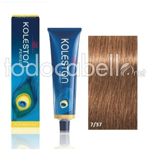 Wella Tinte KOLESTON PERFECT 7/37 Rubio Mediano Dorado Marrón 60ml + Welloxon Crema Activadora 60ml