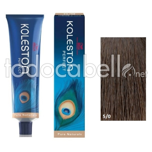 Wella Tinte KOLESTON PERFECT 5/0 Castaño Intenso Claro 60ml + Welloxon Crema Activadora 60ml