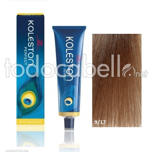 Wella Tinte KOLESTON PERFECT 9/17 Rubio muy Claro Ceniza Marrón 60ml + Welloxon Crema Activadora 60ml