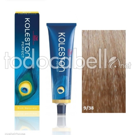 Wella Tinte KOLESTON PERFECT 9/38 Rubio Claro Dorado Perla 60ml + Welloxon Crema Activadora 60ml